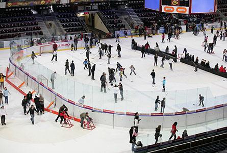plusieurs personnes sur la glace d'une patinoire